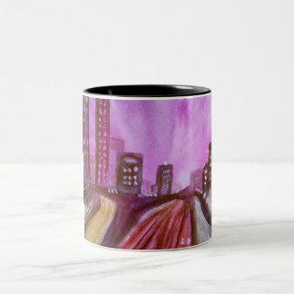 """City Lights"" 11 oz two tone coffee mug"