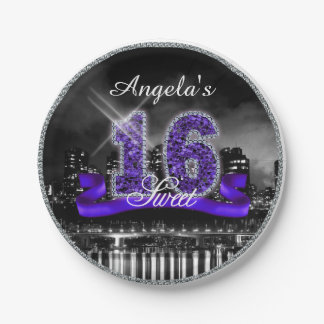 City Lights Sweet Sixteen Purple ID119 7 Inch Paper Plate