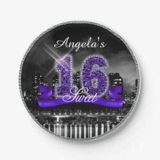 City Lights Sweet Sixteen Purple ID119 Paper Plate