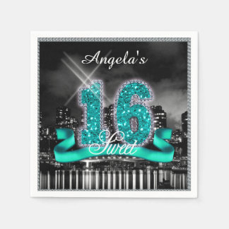 City Lights Sweet Sixteen Teal ID120 Paper Napkin