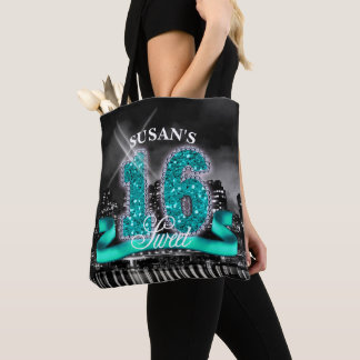 City Lights Sweet Sixteen Teal ID120 Tote Bag