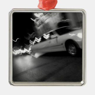 City Limousine at Night Metal Ornament