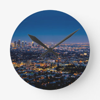 City Los Angeles Cityscape Skyline Downtown Round Clock
