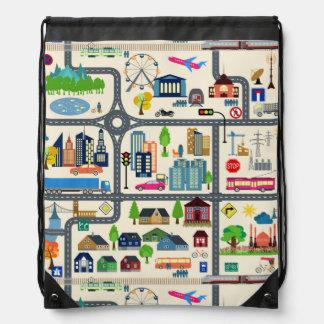 City Map Pattern Drawstring Bag
