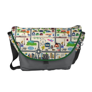 City Map Pattern Messenger Bags