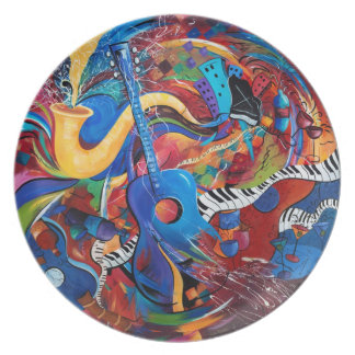 City Night Life Music Art Dinner Plate