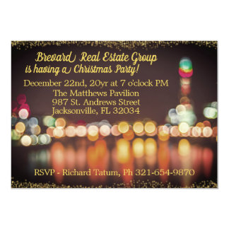 City Night Lights Corporate Christmas Party Card