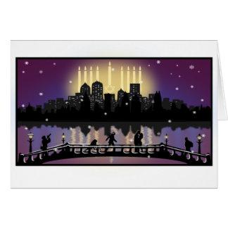 City Night Skyline Hanukkah Menorah Greeting Card