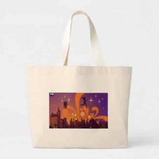 City nightlife design tote bags