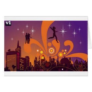 City nightlife design greeting card