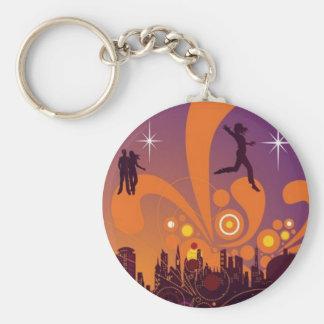 City nightlife design key chain