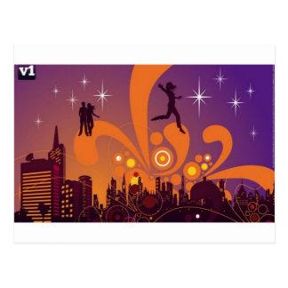 City nightlife design postcard
