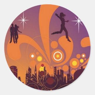 City nightlife design stickers