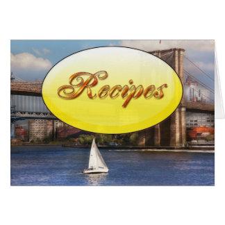 City - NY - Sailing under the Brooklyn Bridge Greeting Card