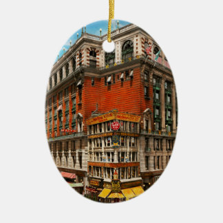 City - NY - The nation's largest dept store 1908 Ceramic Ornament