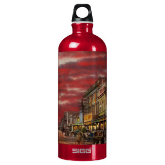 City - NZ - The shopping district 1908 Water Bottle