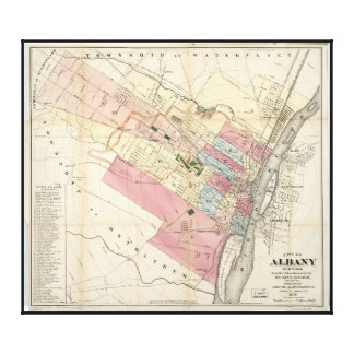City of Albany New York Map (1874) Canvas Print