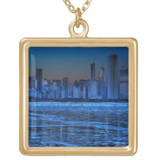 City of broad shoulders and lake Michigan Gold Plated Necklace