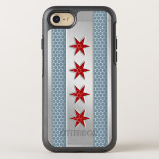 City of Chicago Flag Brushed Metal Look OtterBox Symmetry iPhone 8/7 Case