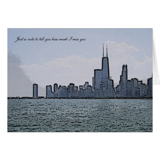 City of Chicago & Lake Michigan Sketch Greeting Card