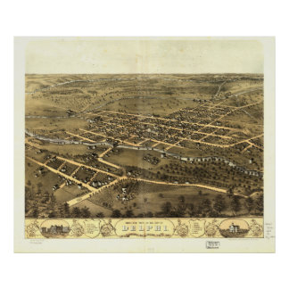 City of Delphi Carroll County Indiana (1868) Posters