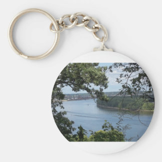 City of Dubuque, Iowa on the Mississippi River Basic Round Button Key Ring