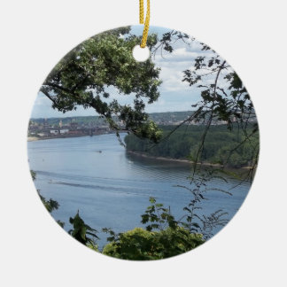 City of Dubuque, Iowa on the Mississippi River Ceramic Ornament