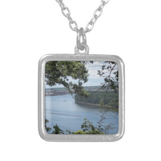 City of Dubuque, Iowa on the Mississippi River Silver Plated Necklace