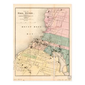 City of Fall River, Massachusetts Map (1874) Postcard