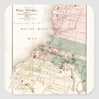 City of Fall River, Massachusetts Map (1874) Square Sticker