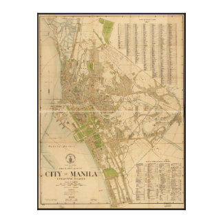 City of Manila Philippine Islands Map (1920) Canvas Print