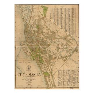 City of Manila Philippine Islands Map (1920) Postcard