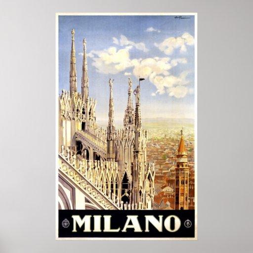City of Milan Italian Travel Poster 1920