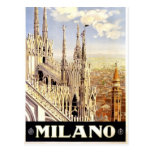 City of Milan Italian Travel Poster 1920 Postcards