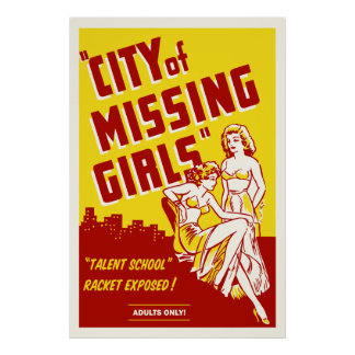 """City of Missing Girls"" Vintage Movie Poster"