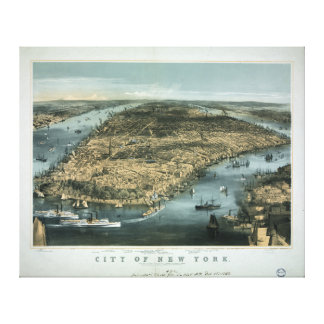 City of New York in 1856 by Charles Parsons Stretched Canvas Print