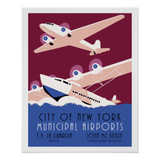 City of New York municipal airports retro Poster