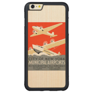City of New York Municipal Airports Vintage Poster Carved Maple iPhone 6 Plus Bumper Case