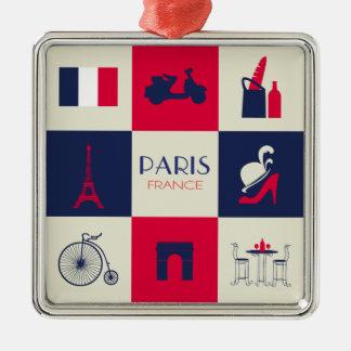City Of Paris Square Metal Christmas Ornament