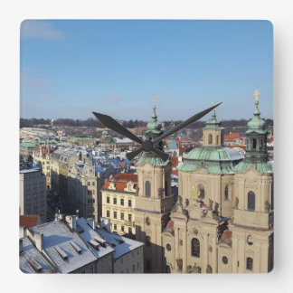 City of Prague and the Baroque Church St. Nicholas Square Wall Clock