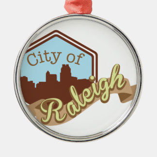 City Of Raleigh Silver-Colored Round Decoration