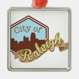 City Of Raleigh Silver-Colored Square Decoration