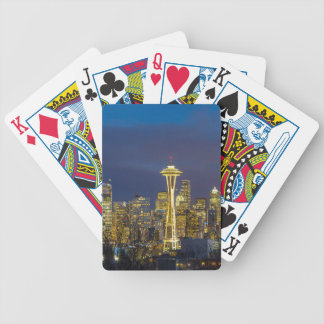 City of Seattle during Evening Blue Hour Panorama Bicycle Playing Cards