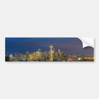 City of Seattle during Evening Blue Hour Panorama Bumper Sticker