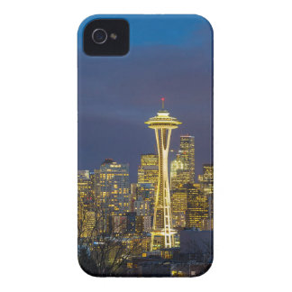 City of Seattle during Evening Blue Hour Panorama iPhone 4 Case-Mate Case