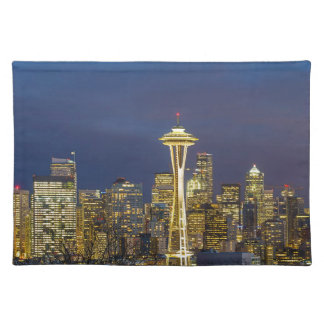 City of Seattle during Evening Blue Hour Panorama Placemat