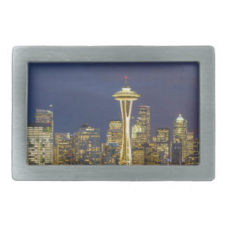 City of Seattle during Evening Blue Hour Panorama Rectangular Belt Buckle