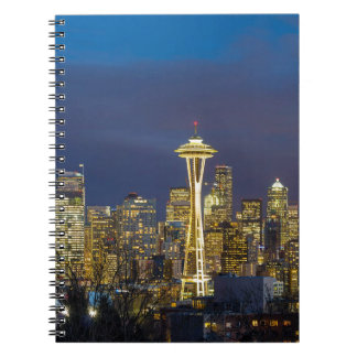 City of Seattle during Evening Blue Hour Panorama Spiral Notebook