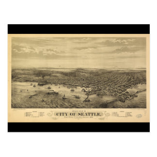 City of Seattle Puget Sound Washington Map (1878) Postcard