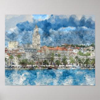 City of Split in Croatia Poster